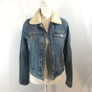 Sherpa lined denim jean jacket
